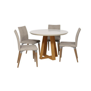 Duffy and Charles Off White and Grey Round Dining Table, Set of 5