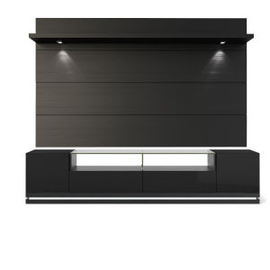Black Gloss and Black Matte 85-Inch Entertainment Center
