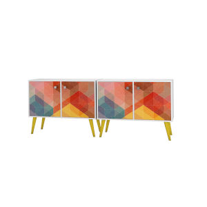 Avesta White, Stamp, Yellow 70-Inch Two-Piece End Table