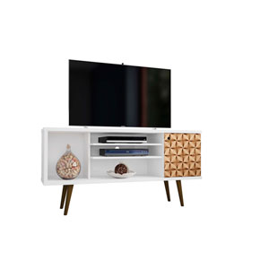 Liberty White and 3D Brown Prints 53-Inch TV Stand