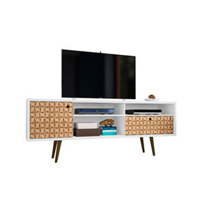 Liberty White and 3D Brown Prints 70-Inch TV Stand