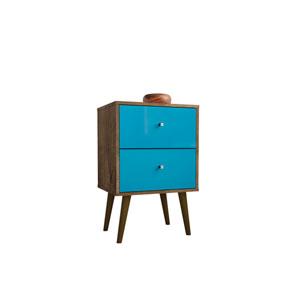 Liberty Rustic Brown and Aqua Blue 18-Inch Nightstand