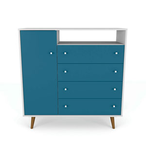 Liberty White and Aqua Blue Four-Drawer Dresser Chests