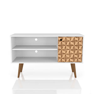 Liberty White and 3D Brown Prints 42-Inch TV Stand