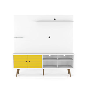 Liberty White and Yellow 70-Inch Freestanding Entertainment Center