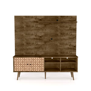 Liberty Rustic Brown and 3D Brown Prints 70-Inch Freestanding Entertainment Center