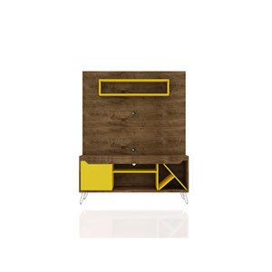Baxter Rustic Brown and Yellow Freestanding Entertainment Center
