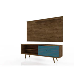 Liberty Rustic Brown and Aqua Blue Entertainment Center, Set of 2