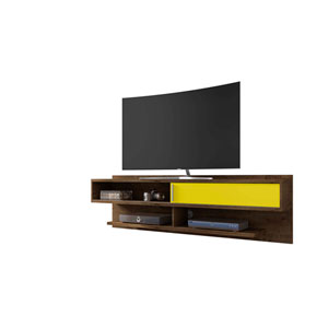 Astor Rustic Brown and Yellow Floating Entertainment Center