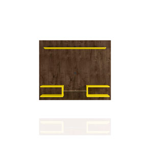 Plaza Rustic Brown and Yellow Floating Entertainment Center