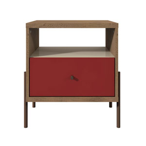 Red, Off White, and Oak 20-Inch Nightstand