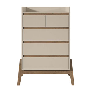 Off White and Oak 35-Inch Chests