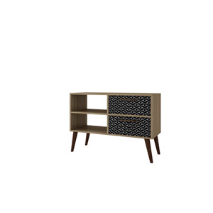 Dalarna Charcoal and White TV Stand with Two-Drawers