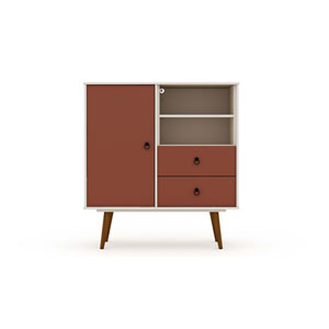 Tribeca Off White and Terra Orange Pink Two-Drawers Dresser Sideboard