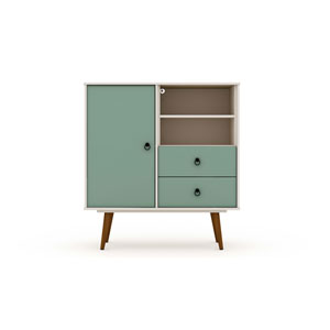 Tribeca Off White and Green Mint Two-Drawers Dresser Sideboard