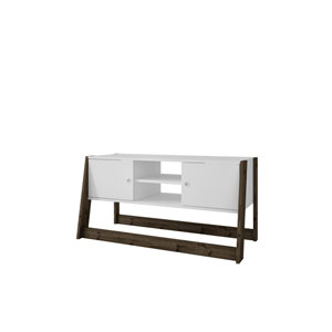 Salvador 41-Inch TV Stand with 4 Shelves in White and Dark Oak