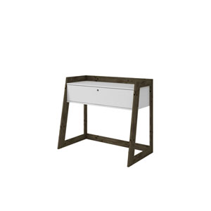 Salvador 37-Inch Entryway Desk with 1 Drawers in White and Dark Oak