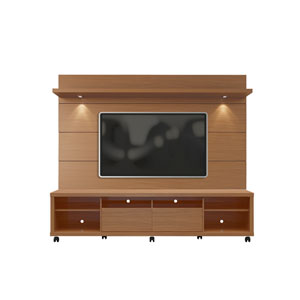 Cabrini TV Stand and Floating Wall TV Panel with LED Lights 2.2 in Maple Cream and Off White
