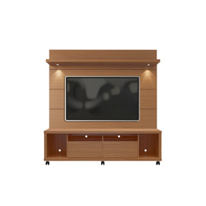 Cabrini TV Stand and Floating Wall TV Panel with LED Lights 1.8 in Maple Cream and Off White