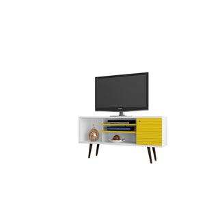 Liberty 53-Inch TV Stand with 5 Shelves and 1 Door in White and Yellow with Solid Wood Legs