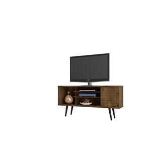 Liberty 53-Inch TV Stand with 5 Shelves and 1 Door in Rustic Brown with Solid Wood Legs