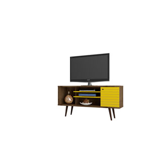 Liberty 53-Inch TV Stand with 5 Shelves and 1 Door in Rustic Brown and Yellow with Solid Wood Legs