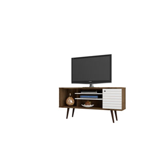 Liberty 53-Inch TV Stand with 5 Shelves and 1 Door in Rustic Brown and White with Solid Wood Legs