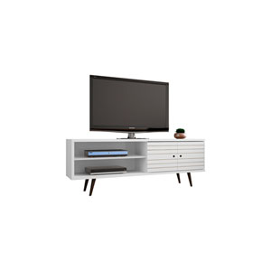 Liberty 63-Inch TV Stand with 3 Shelves and 2 Doors in White with Solid Wood Legs