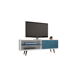 Liberty 63-Inch TV Stand with 3 Shelves and 2 Doors in White and Aqua Blue with Solid Wood Legs