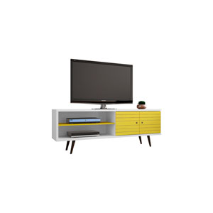 Liberty 63-Inch TV Stand with 3 Shelves and 2 Doors in White and Yellow with Solid Wood Legs