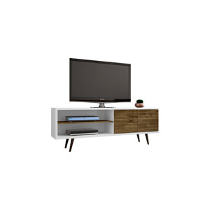 Liberty 63-Inch TV Stand with 3 Shelves and 2 Doors in White and Rustic Brown with Solid Wood Legs
