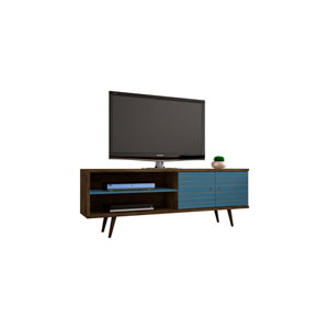 Liberty 63-Inch TV Stand with 3 Shelves and 2 Doors in Rustic Brown and Aqua Blue with Solid Wood Legs