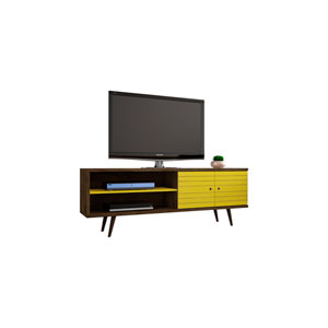 Liberty 63-Inch TV Stand with 3 Shelves and 2 Doors in Rustic Brown and Yellow with Solid Wood Legs