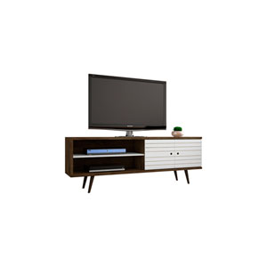 Liberty 63-Inch TV Stand with 3 Shelves and 2 Doors in Rustic Brown and White with Solid Wood Legs