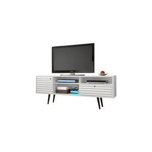 Liberty 71-Inch TV Stand with 4 Shelving Spaces and 1 Drawer in White with Solid Wood Legs