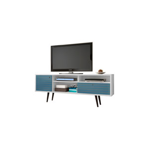 Liberty 71-Inch TV Stand with 4 Shelving Spaces and 1 Drawer in White and Aqua Blue with Solid Wood Legs