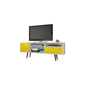 Liberty 71-Inch TV Stand with 4 Shelving Spaces and 1 Drawer in White and Yellow with Solid Wood Legs