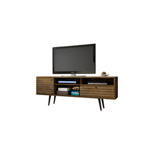Liberty 71-Inch TV Stand with 4 Shelving Spaces and 1 Drawer in Rustic Brown with Solid Wood Legs
