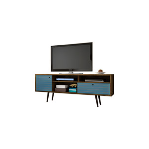 Liberty 71-Inch TV Stand with 4 Shelving Spaces and 1 Drawer in Rustic Brown and Aqua Blue with Solid Wood Legs