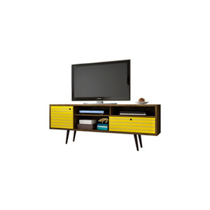 Liberty 71-Inch TV Stand with 4 Shelving Spaces and 1 Drawer in Rustic Brown and Yellow with Solid Wood Legs