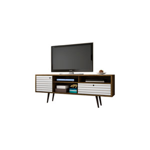 Liberty 71-Inch TV Stand with 4 Shelving Spaces and 1 Drawer in Rustic Brown and White with Solid Wood Legs