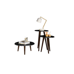 Carmine Mid Century - Modern End Tables - Set of 3 in Black with Solid Wood Splayed Legs