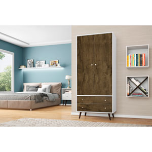Liberty 32-Inch Armoire with 2 Drawers, 1 Shelf, and Hanging Rod in White and Rustic Brown