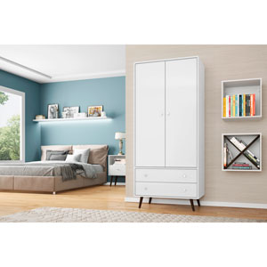 Liberty 32-Inch Armoire with 2 Drawers, 1 Shelf, and Hanging Rod in White