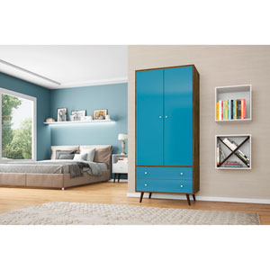 Liberty 32-Inch Armoire with 2 Drawers, 1 Shelf, and Hanging Rod in Rustic Brown and Aqua Blue