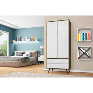 Liberty 32-Inch Armoire with 2 Drawers, 1 Shelf, and Hanging Rod in Rustic Brown and White