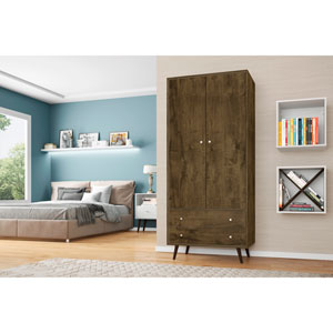 Liberty 32-Inch Armoire with 2 Drawers, 1 Shelf, and Hanging Rod in Rustic Brown