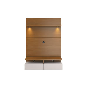 Cabrini Floating Wall Theater Entertainment Center in Maple Cream and Off White