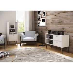 Sami White Double Bookcase
