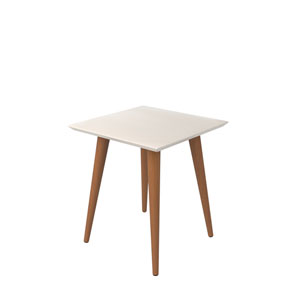 Utopia 20-Inch High Square End Table With Splayed Wooden Legs in White Gloss and Maple Cream